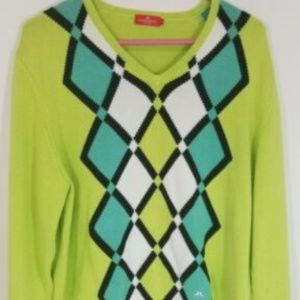 J Lindeberg Stockhom Argyle Mens V Neck sweater L